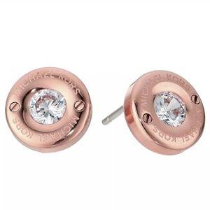 Michael Kors Rose Gold Logo Crystal Stud Earrings